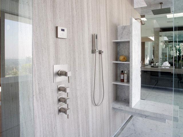 White Wood Marble Bathroom